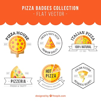 Collection of six badges for pizza