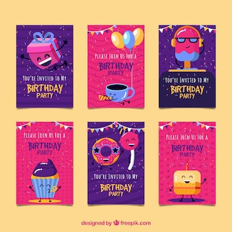 Collection of six birthday cards