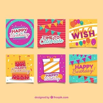Raccolta di sei biglietti d'auguri colorati in design piatto