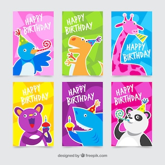 Collection of six colourful birthday cards with animals