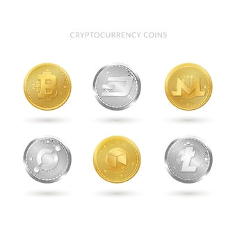 Collection of six cryptocurrency coins