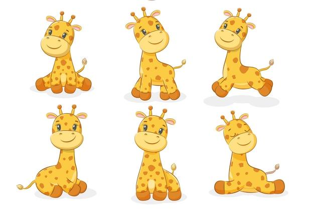 A collection of six cute giraffes. vector illustration of a cartoon.