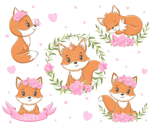 A collection of six cute little foxes, decorated with ribbons, hearts and wreaths. vector illustration of a cartoon.