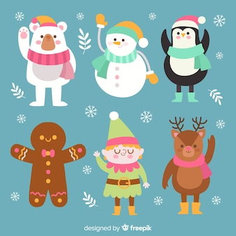 Collezione di sei diversi personaggi natalizi