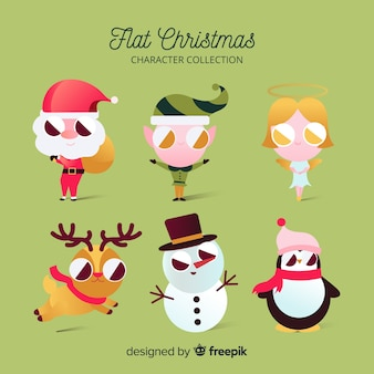 Collection of six flat christmas characters