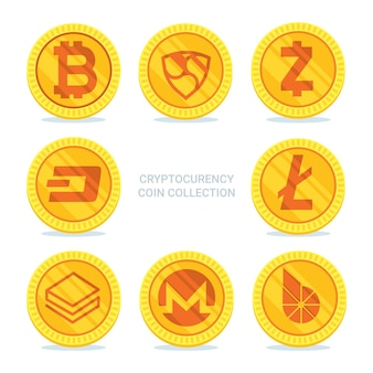 Collection of six golden cryptocurrency coins