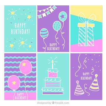 Collection of six hand drawn birthday cards