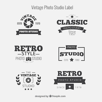 Collection of six retro logos for photography