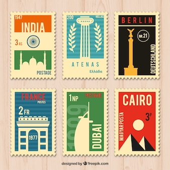 Collection of six travel stamps