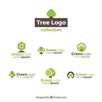 Collection of six tree logos