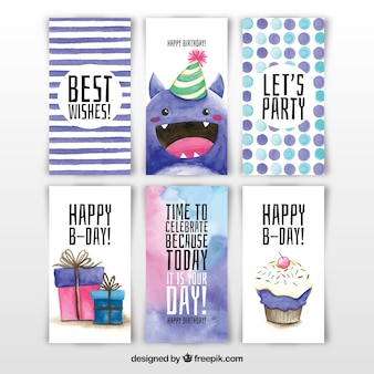 Collection of six watercolour birthday cards