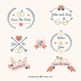 Collection of six wedding labels