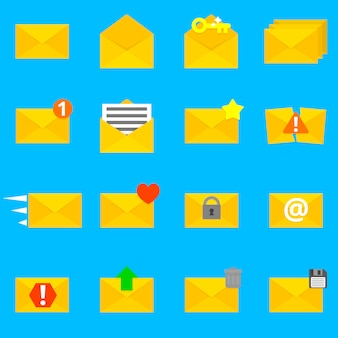 Collection of sixteen detailed envelope icons.