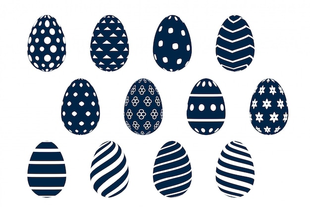 Collection of sixteen patterned easter eggs designs