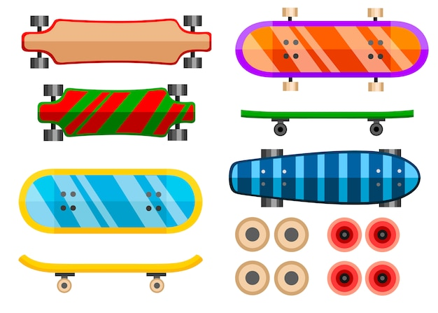Collection of skateboard.   icon. skateboard different sides illustration.   illustration  on white background