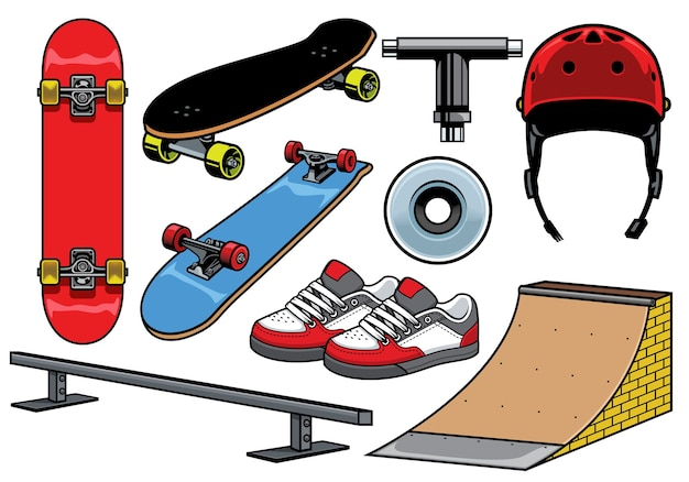 Collection of skateboard objects isolated on white