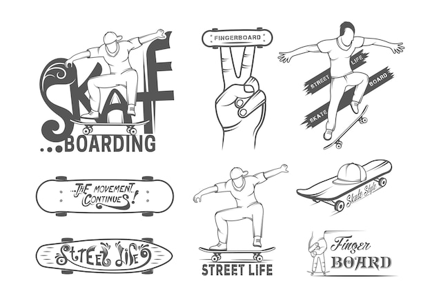 Collection of skateboarding badges