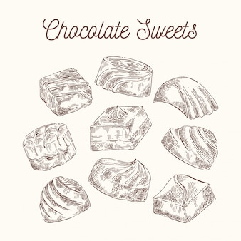 Collection of sketch chocolate sweets
