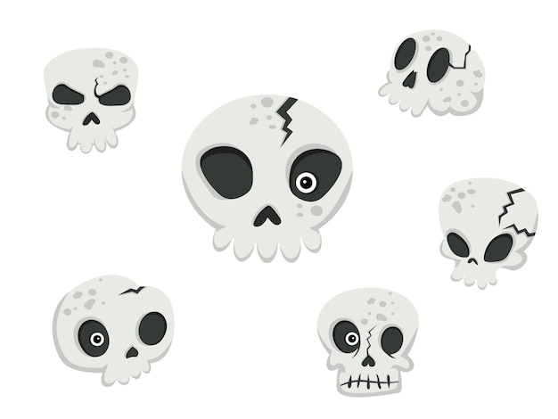 Collection of skulls. concept cartoon skull in different . halloween elements set. vector clipart illustration isolated on white background