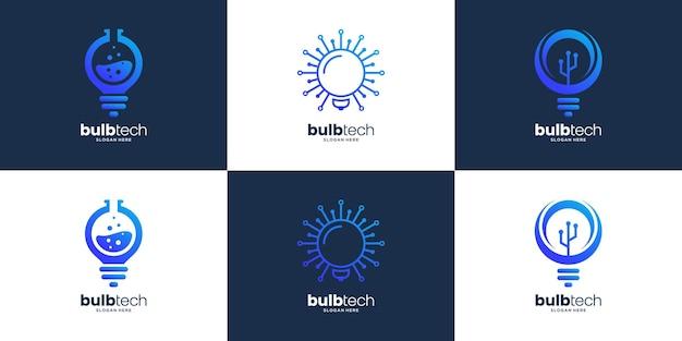 Collection of smart bulb tech logo design template
