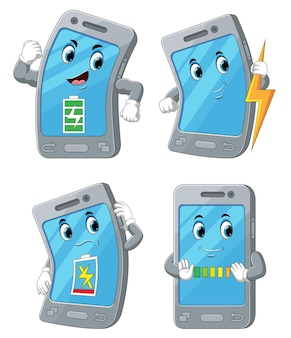 The collection of the smart phone with the battery health of illustration