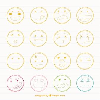 Raccolta di smiley schizzi