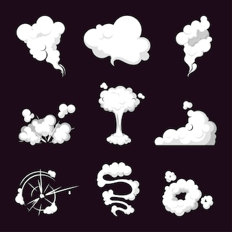 Collection smoke cloud, steam explosion, speed in motion.