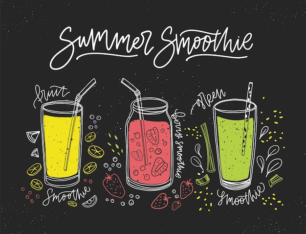 Collection of smoothies made of tasty fresh fruits, berries and vegetables in glasses