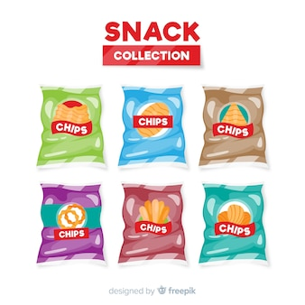 Collection of snacks in flat design