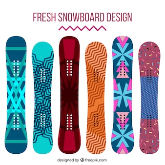 Collection of snowboards in abstract design