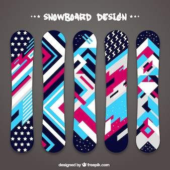 Collection of snowboards in geometric design