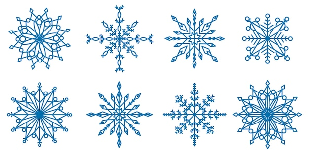 Collection of snowflakes of all shapes