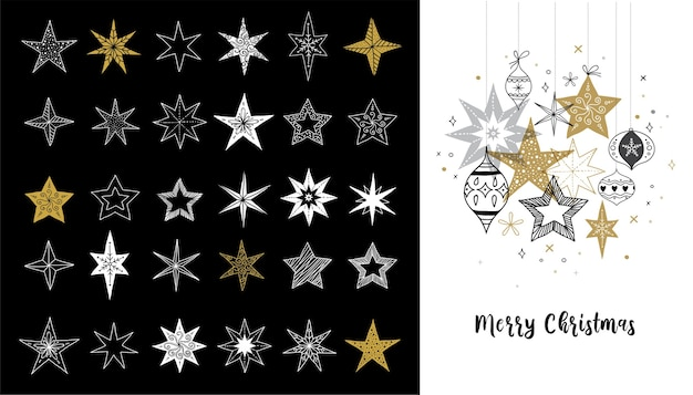 Collection of snowflakes and stars, christmas greeting card
