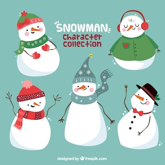 Collection of snowmen with winter clothes