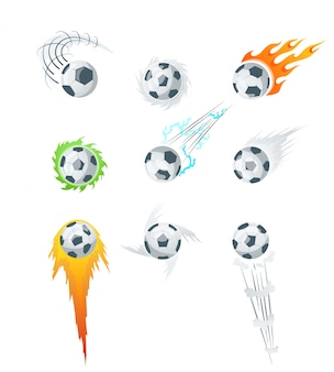 Collection of soccer balls with curved color motion trails illustrations