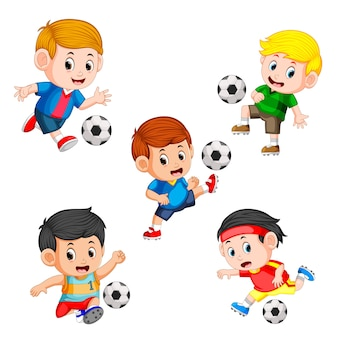 Collection of soccer children player