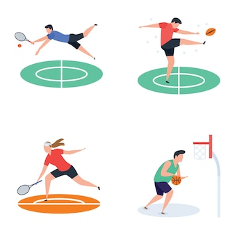 Collection of soccer, cricket, hockey, sports player icons