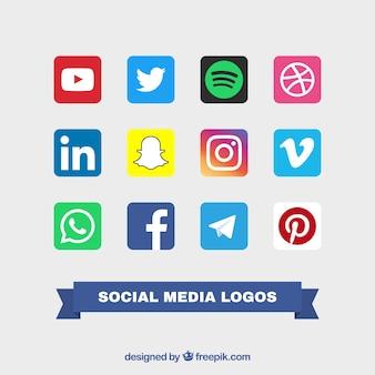 Collection of social logos color logos