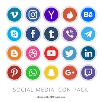 Collection of social media button Premium Vector
