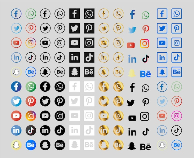 Collection of social media icons with gradients and gold