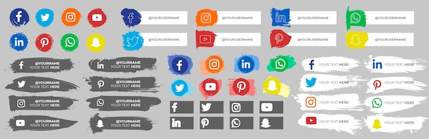 Collection of social media icons with strokes
