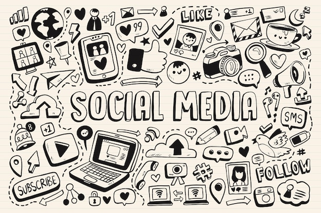 Collection of social media monochromatic doodles