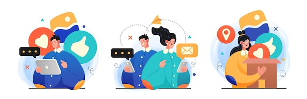 Collection of social media network and digital communication concept illustrations