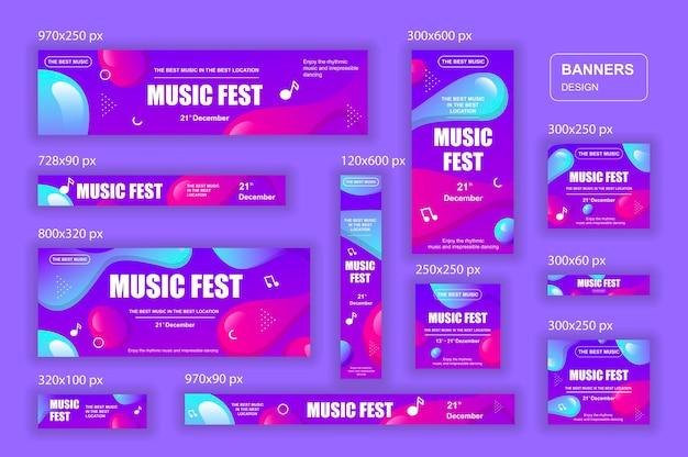 Коллекция веб-баннеров социальных сетей разных размеров для музыкальной рекламы