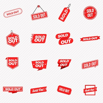 Collection of sold out banners, labels, stamps, and signs
