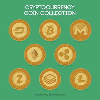 Collection of some cryptocurrency coins Free Vector