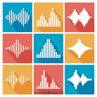 Collection of sound waves in flat design