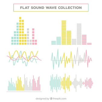 Collection of sound waves in pastel colors