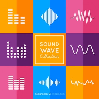 Collection of sound waves with colorful background