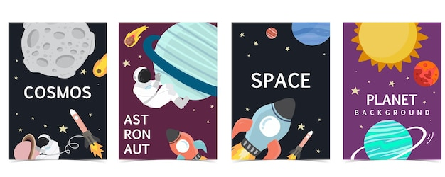 Collection of space background set with astronaut, sun, moon, star,rocket.editable vector illustration for website, invitation,postcard and sticker